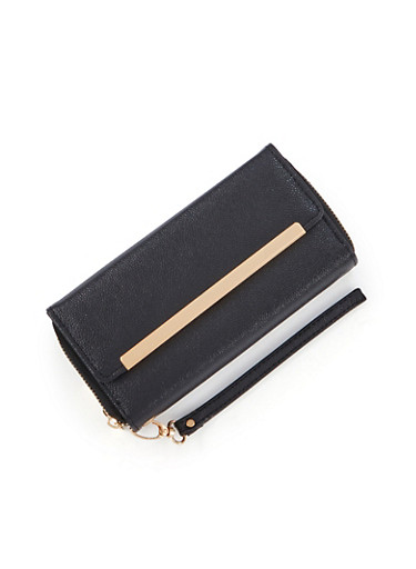 Leather Flap Wallet with Gold Bar Accent,BLACK,large