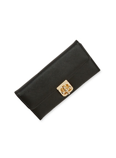 Twist Lock Flap Wallet,BLACK,large