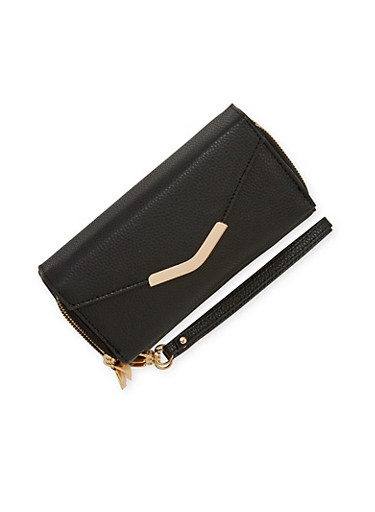 Double Compartment Flap Wallet with Removable Strap,BLACK,large