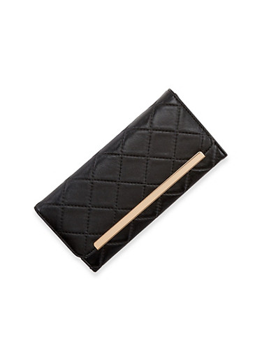 Quilted Faux Leather Wallet with Metal Bar Accent,BLACK,large