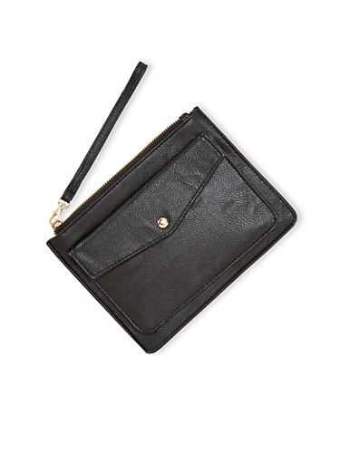 Faux Leather Wristlet with Front Pocket,BLACK,large