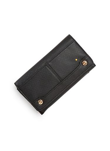 Foldover Wallet with Goldtone Hardware,BLACK,large
