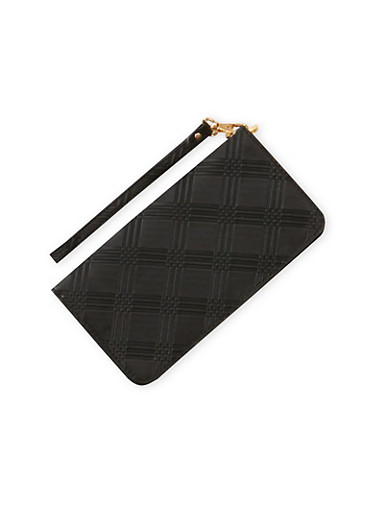 Embossed Wristlet Clutch,BLACK,large