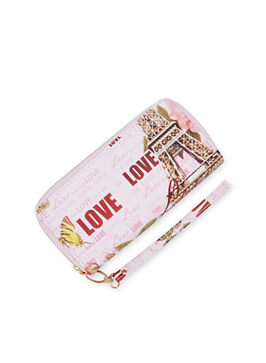 Double Zipper Wallet with Love Eiffel Tower Print,PINK,large