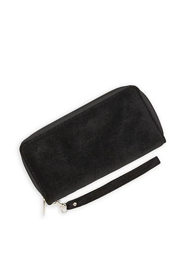 Velvet Double Zip Wallet,BLACK,large