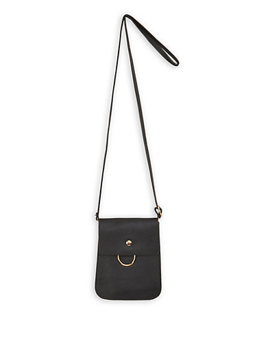Faux Leather Fold Over Crossbody Bag,BLACK,large