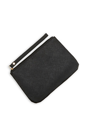 Textured Faux Leather Clutch,BLACK,large