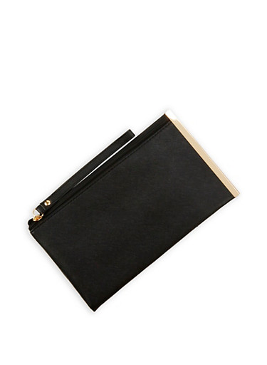 Faux Leather Metal Side Bar Clutch,BLACK,large