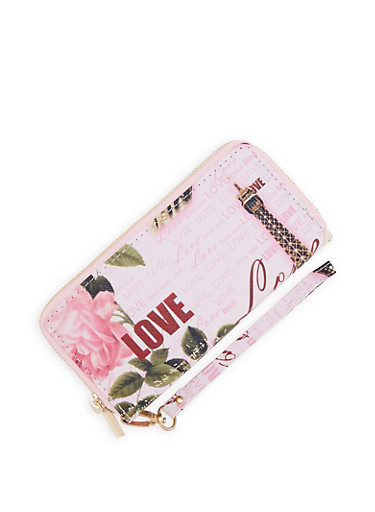 Faux Leather Double Zip Love Graphic Wallet,PINK,large