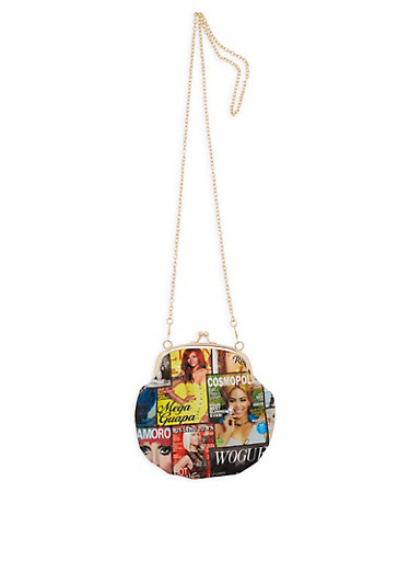 Magazine Print Large Kiss Lock Coin Purse,MULTI COLOR,large