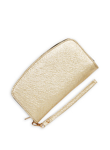 Textured Faux Leather Wallet,GOLD,large