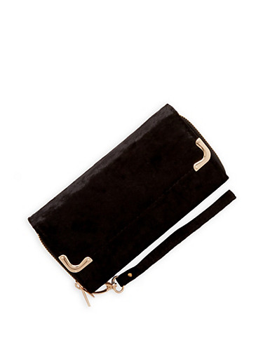 Double Zip Velvet Wallet,BLACK,large