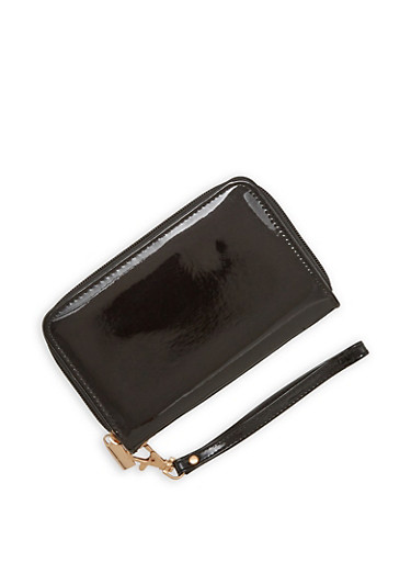 Faux Patent Leather Wristlet,BLACK,large