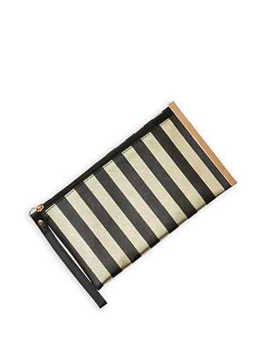 Striped Wristlet with Metallic Side Bar,BLACK/GOLD,large