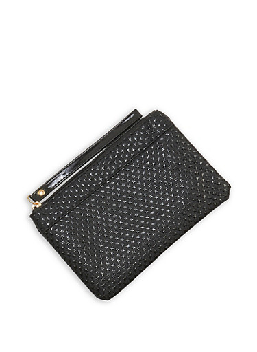 Star Embossed Wristlet,BLACK,large