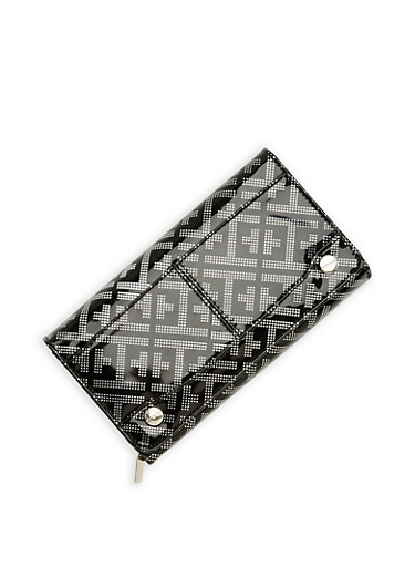 Faux Leather Metallic Embossed Tri Fold Wallet,BLACK/SILVER,large