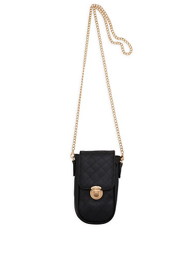 Quilted Faux Leather Chain Strap Crossbody Bag,BLACK,large