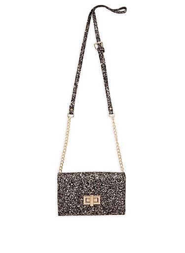Glitter Crossbody Bag,BLACK,large