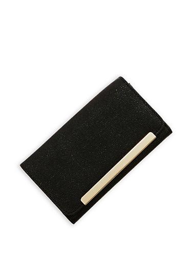 Pebbled Faux Leather Tri Fold Wallet,BLACK,large