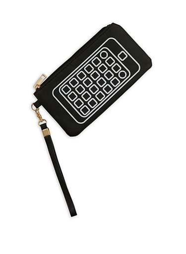 Faux Leather Cell Phone Graphic Wristlet,BLACK,large