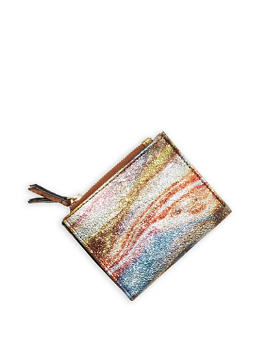Mini Textured Metallic Faux Leather Bifold Wallet,BROWN/SILVER,large