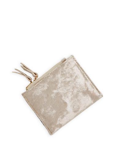 Mini Metallic Velvet Bifold Wallet,BLUSH,large