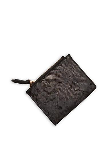 Mini Velvet Bifold Wallet,BLACK,large