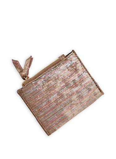 Mini Metallic Velvet Bifold Wallet,MULTI COLOR,large