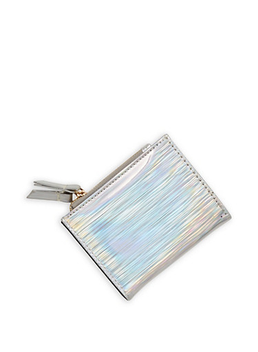 Mini Striped Metallic Bifold Wallet,SILVER,large
