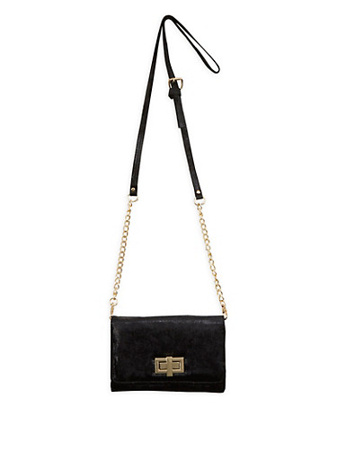 Crushed Velvet Crossbody Bag,BLACK,large