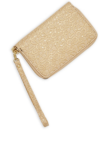 Textured Faux Leather Zip Wallet,GOLD,large