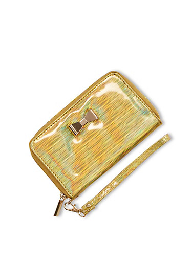 Holographic Faux Leather Wristlet,GOLD/GOLD BOW,large