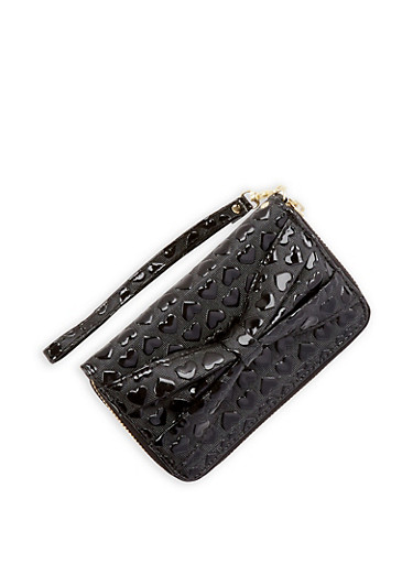 Heart Embossed Faux Leather Wallet,BLACK,large