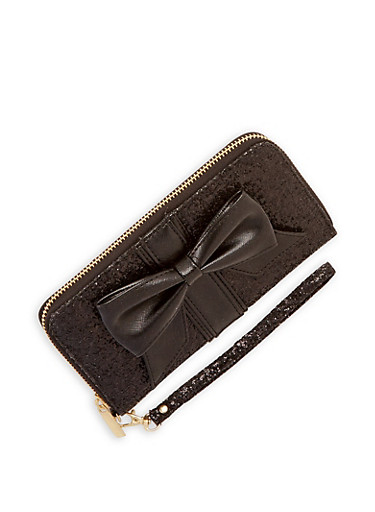 Glitter Bow Accent Wallet,BLACK,large