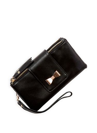 Double Zip Bow Accent Wallet,BLACK,large