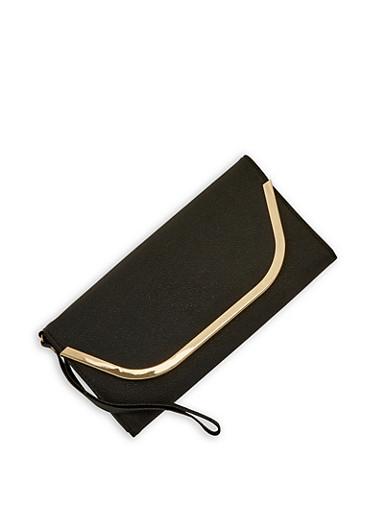 Metallic Flap Envelope Wallet,BLACK,large