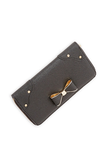 Pebbled Faux Leather Wallet with Bow Accent,BLACK,large