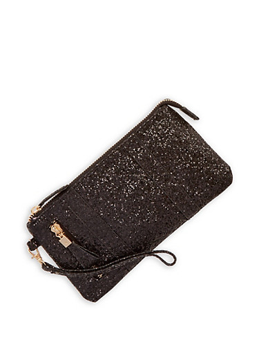 Glitter Zipper Accent Clutch,BLACK,large