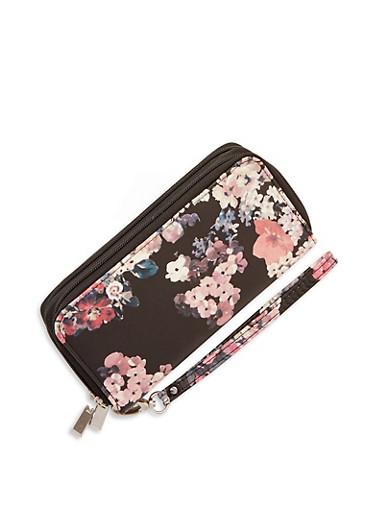 Floral Faux Leather Double Zip Wallet,BLACK,large