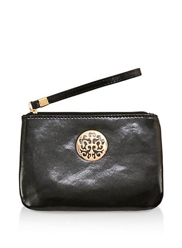 Faux Leather Metallic Detail Wristlet,BLACK,large
