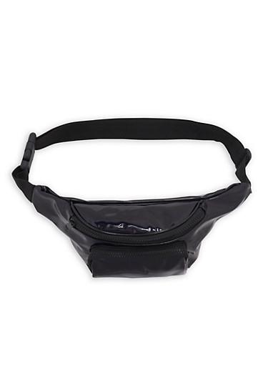 Faux Leather Double Zip Fanny Pack,BLACK/PAT,large