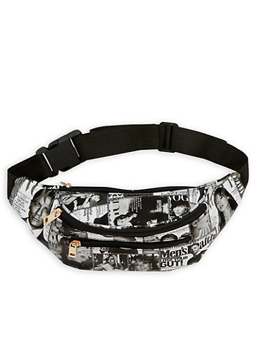 Magazine Graphic Faux Leather Fanny Pack,BLACK/WHITE,large