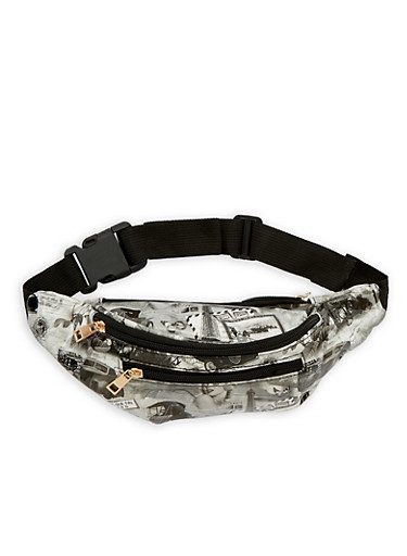 Printed Patent Leather Fanny Pack,WHITE/BLACK,large