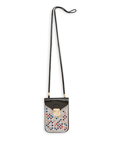 Bedazzled Crossbody Cellphone Pouch,BLACK,large