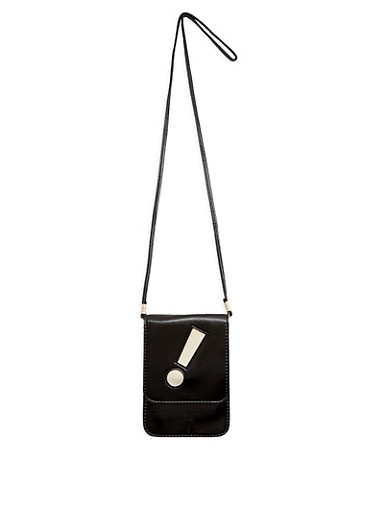 Faux Leather Exclamation Point Crossbody Bag,BLACK/GOLD,large