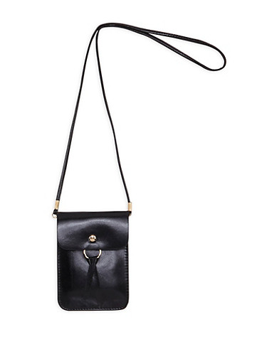 Faux Leather O Ring Crossbody Pouch,BLACK,large