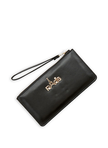 Paris Metallic Detail Wristlet,BLACK,large