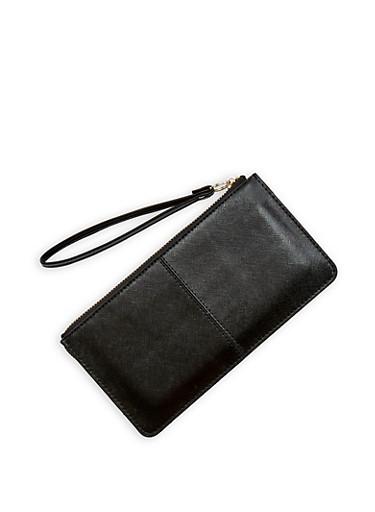 Faux Saffiano Leather Wristlet,BLACK,large