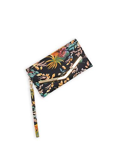 Floral Faux Leather Envelope Clutch,BLACK,large