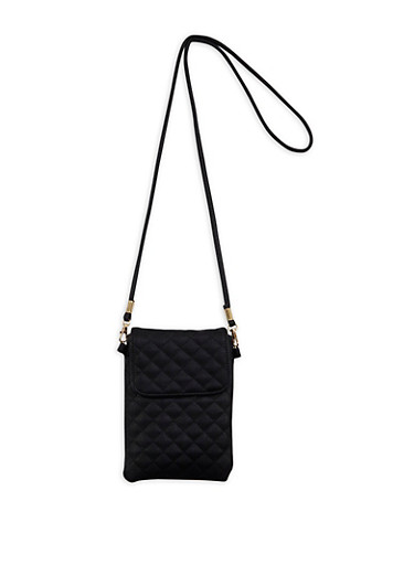 Quilted Faux Leather Crossbody Cell Phone Pouch,BLACK,large